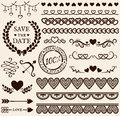 Love, romance and wedding design elements. Vector set.