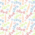 Love scribbled words seamless background doodle and hearts tile Stock Photos