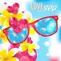 Love and the sea vector summer light illustration Royalty Free Stock Photo