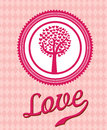 Love seal over pink background vector illustration Royalty Free Stock Photos