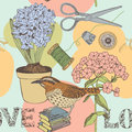 Love seamless background with bird and flowers book scissors Royalty Free Stock Photography
