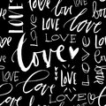 LOVE seamless chalk background. Modern brush calligraphy. Royalty Free Stock Photo