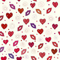 Love seamless pattern vector with hearts and lips eps on Stock Images
