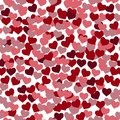 Love semless pattern from gentle flying pink and red hearts. Flat vector cartoon illustration. Objects isolated on white