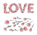 LOVE sign or lettering made with sakura flowers and leaves