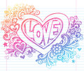 Love Sketchy Notebook Doodles Heart with Flowers V Royalty Free Stock Images