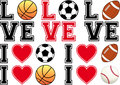 Love soccer, football, basketball, baseball, vecto Royalty Free Stock Photo