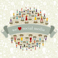 We Love social media network Royalty Free Stock Photo