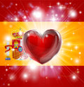 Love Spain flag heart background Stock Image