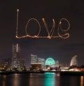Love sparkle Fireworks celebrating over marina bay in Yokohama C Royalty Free Stock Photo