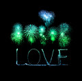 Love sparkler firework light alphabet with fireworks valentines day Royalty Free Stock Photo