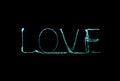 Love sparkler firework light alphabet Royalty Free Stock Photo