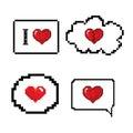 Love speech bubble pixels art stlye