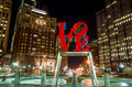 The Love statue in the Love Park Philadelphia Royalty Free Stock Photo