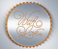 With Love sticker or postcard Stock Images