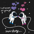 Love story of boy and girl astronauts in space
