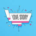 Love story. Retro design element in pop art style on halftone co