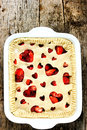 Love strawberry pie. Festive pie with fresh strawberry filling d Royalty Free Stock Photo