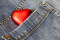 Love symbol in a blue jeans Royalty Free Stock Photo