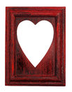 Love symbol hole on a red frame cut out painted wooden picture Stock Images