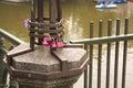 Love symbol locked padlock on the river up romantic padlocks newlyweds affix or hang fence bridge or other public Stock Photos