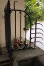 Love symbol locked padlock up the river romantic padlocks newlyweds affix or hang on fence bridge or other public Stock Images