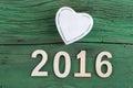 Love symbol and 2016