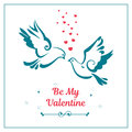 Love symbols, couple of pigeons. Valentines card.