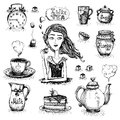 The love of tea scene set with girl vector illustration Stock Images