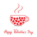 Love teacup with hearts. Happy Valentines Day card