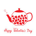 Love teapot with hearts. Happy Valentines Day card