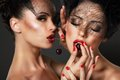 Love. Temptation. Women Eating Cherry Berries Royalty Free Stock Photo