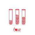 Love test tubes with hearts inside. Card