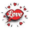 Love text heart lips comic word