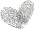 Love text heart shape design romantic made with two fingerprints crosses each other in Stock Image