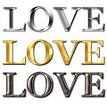 Love text metal effect cool with Royalty Free Stock Image