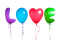 Love text shaped color balloons isolated on white Royalty Free Stock Photo