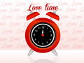 Love time illustration of a red alarm clock Royalty Free Stock Images