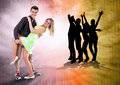 We love to dance all time dancing teen couple on bright grunge background Royalty Free Stock Image