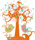 Love tree with hearts and valentine birds, vector. Stock Photography