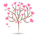 Love tree with pink heart leaves different sizes on white background. Vector illustration