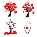 Love tree set of trees with heart shape leaves for your design Royalty Free Stock Image