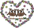 Love two owls in valentines day or wedding Royalty Free Stock Images
