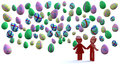 Love under easter eggs Royalty Free Stock Photo