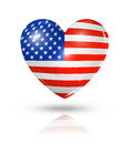 Love usa heart flag icon symbol d on white with clipping path Royalty Free Stock Image