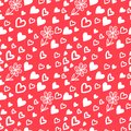 Love valentin s day seamless pattern hearts flowers vector illustration your design Stock Photos