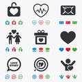 Love valentine day icons target with heart oath letter and locker symbols couple lovers heartbeat signs flat black red blue and Royalty Free Stock Images