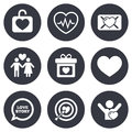 Love valentine day icons target with heart oath letter and locker symbols couple lovers heartbeat signs gray flat circle buttons Royalty Free Stock Image