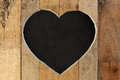 Love Valentines heart wooden frame black chalk board background Royalty Free Stock Photo