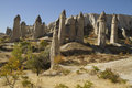 Love valley in cappadocia stone monuments of turkey Stock Photos
